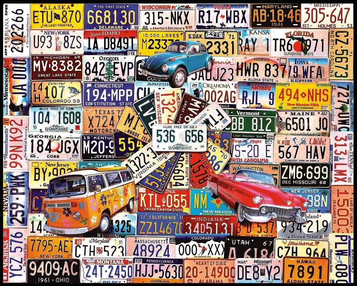 White Mountain Puzzles License Plates - - - 1000 Piece Jigsaw Puzzle , New, Free Shi 77f29c
