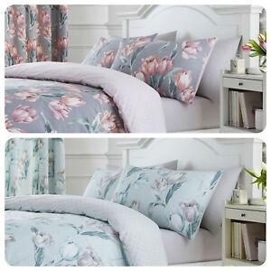 Dreams-amp-Drapes-TULIP-Floral-amp-Geometric-Reverse-Pencil-Pleat-Curtains-Bedding