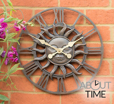 Metal Garden Outdoor Wall Clock Sun Design Finish Roman Numerals Durable