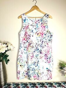 FOREVER NEW Bright Floral Size 16 Fit & Flared Sleeveless Lined Midi Dress