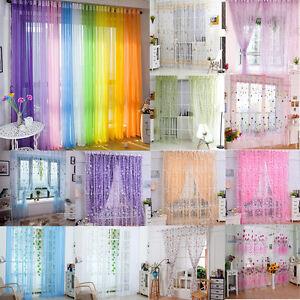 Puerta-moderna-ventana-Flor-Sheer-Cortina-Panel-Drape-Voile-Habitacion-Floral