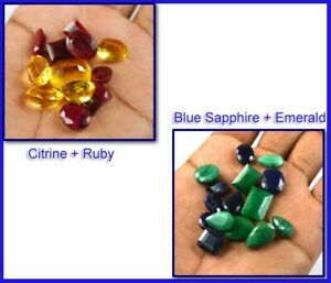 Gift Offers Sapphire, Emerald, Ruby & Citrine Gemstone Lot 100 Ct Mix Shape