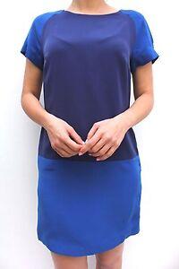 Karen-Millen-bleu-souple-drape-Bloc-COULEUR-FOURREAU-MINI-decontracte-bureau