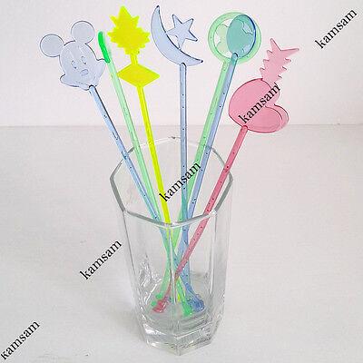 Quality assorted colors & shapes drink stirrer cocktail swizzle stir stick
