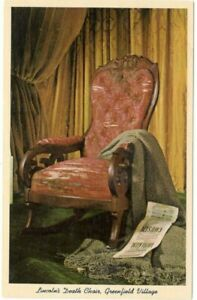 Lincoln-039-s-Death-Chair-Greenfield-Village-Michigan-Unused-Vintage-Postcard-A111