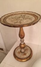 A Beautiful Vintage Gold Florentine  Round Wood  Pedestal Table, Italy