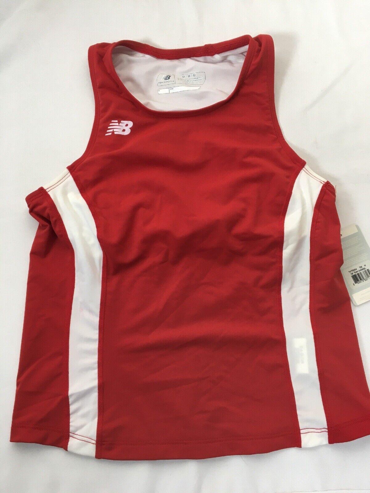 NEW BALANCE Women's Red White Track & Field Team Tank Top TWTFB504 MEDIUM NWT