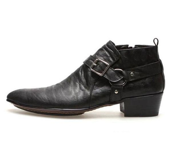 Uomo leather pointed toe fashion ankle boots chunky heel buckle motorcycle shoes