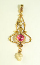 ANTIQUE 10K YELLOW GOLD ROUND PINK STONE & SEED PEARL LAVALIERE PENDANT
