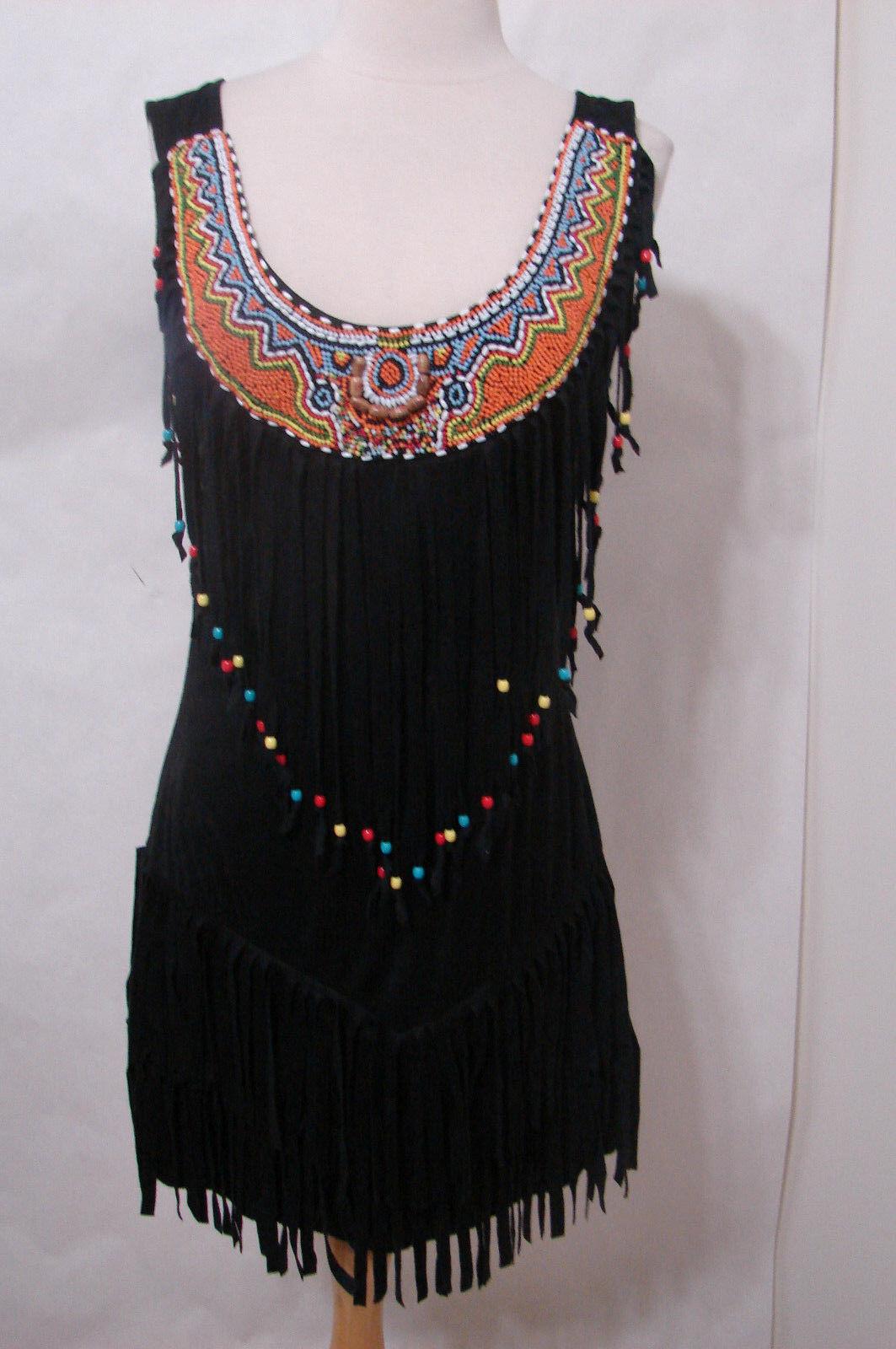 Noir Indien Perles Frange Sans Manches Extensible Robe Nouveau Sans Original étiquettes M