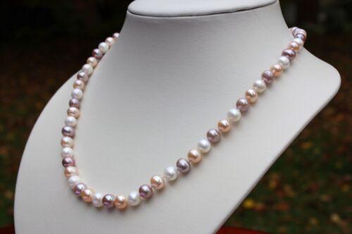 A001B 44cm Süßwasser Zucht Perlen Schmuck Perlenkette Halskette Kette Collier ää