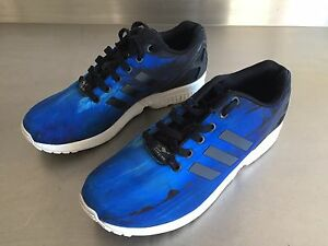 buy popular 74a32 fe190 Details about RARE USA Adidas Torsion ZX Flux Beach Print Blue Trainers  Size UK 7.5 (US 8)