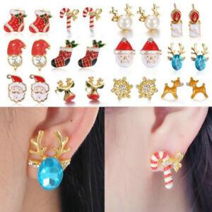 Charm-Cute-Women-Christmas-Jewelry-Snowflake-Candy-Ear-Stud-Earrings-Xmas-Gifts