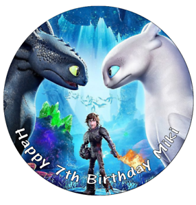 """How To Train Your Dragon Cake Topper Personalised Edible Wafer Paper 7.5/"""""""