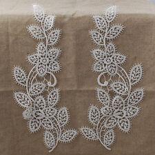 Guipure Lace Motif Applique - A Pair - Flower Leaf - Bridal - White 9cm x 25.5cm