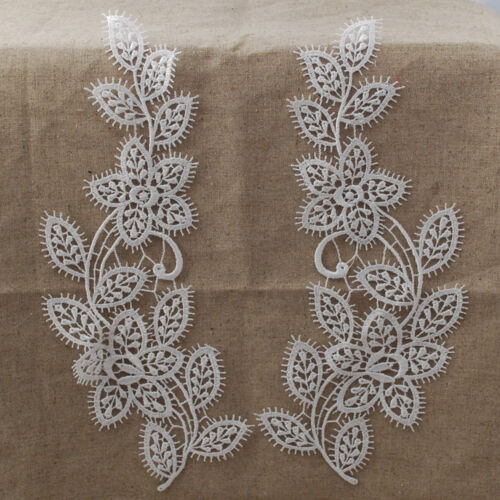A Pair MP08 Bridal 9cm x 25.5cm Guipure Lace Motif Applique White