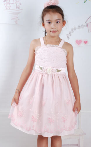 New Girls Floral Party Dress in Pink Cream from 2 Years to 4 Years K17