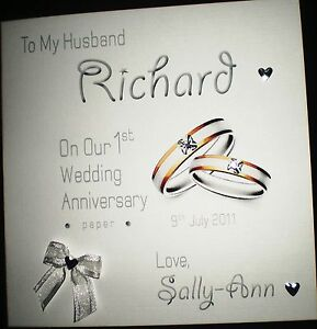 HANDMADE PERSONALISED WEDDING ANNIVERSARY CARD 1ST 2ND 3RD 10TH 20TH 30TH  50TH