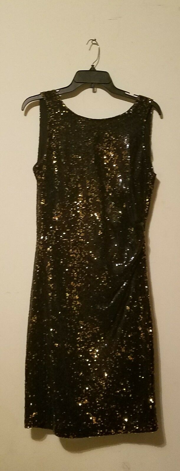 NWT Zara Sleeveless Sequinned Plunging Back Cocktail Dress schwarz Gold sz S
