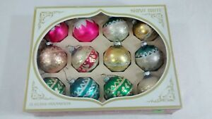 Vintage-Shiny-Brite-Glass-Christmas-Ornaments-Box-of-12-pink-glitter-USA-made