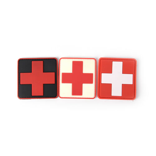 Outdoor Survival First Aid PVC Red Cross Hook Loop Fastener Badge Patch 6×6cm LY