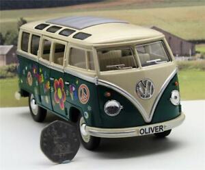 PERSONALISED-PLATES-Gift-Green-VW-Camper-Van-Bus-17cm-1-24-Boys-Girls-Toy-Model