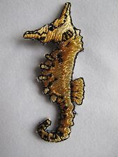 #3282 Golden Sea Horse Embroidery Iron On Applique Patch