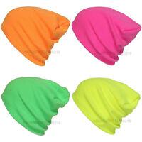 Plain Beanie Knit Ski Cap Skull Hat Warm Solid Neon Color Winter Cuff New Unisex