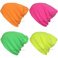 Plain Beanie Knit Ski Cap Skull Hat Warm Solid Neon Color Winter Cuff Unisex