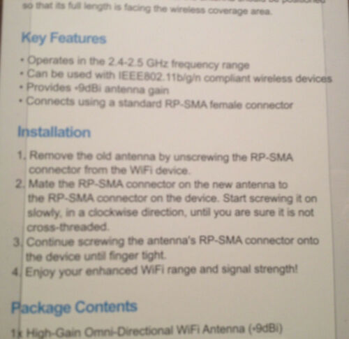 Omni-Directional 2.4GHz Wifi 9dBi High Gain SMA Antenna