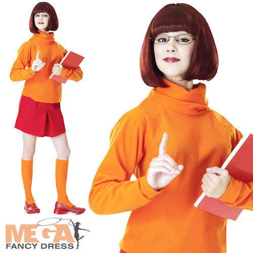 Velma Scooby Doo Peluca Señoras Vestido Elaborado Disfraz para Adulto Traje De Halloween Mujeres