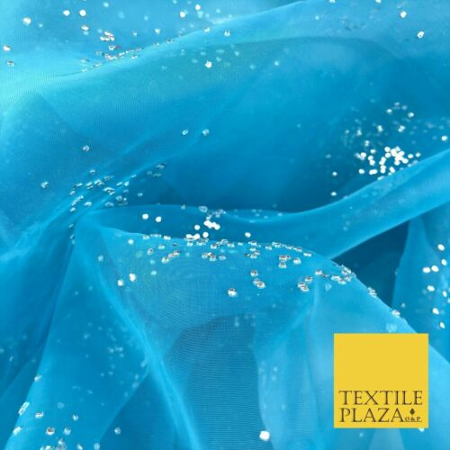 Dress Flowy Decor QD916 BLUE Premium Glitter Hologram Cluster Organza Fabric