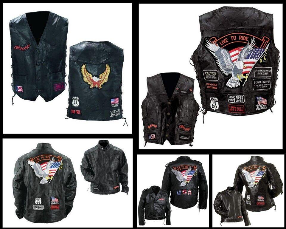 Gilet giacca senza maniche Pelle   Taglia comoda - S a 7XL - motociclista paese