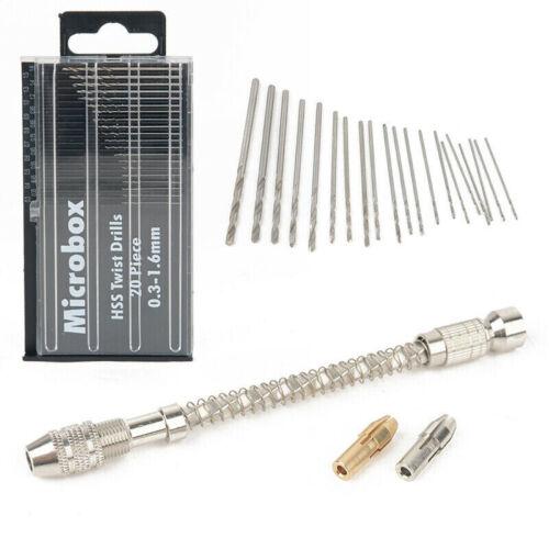 23pcs//Set 0.3-1.6mm Mini Spiral Drills Bits Chuck HSS 11.2cm Hand Drill Tool Kit