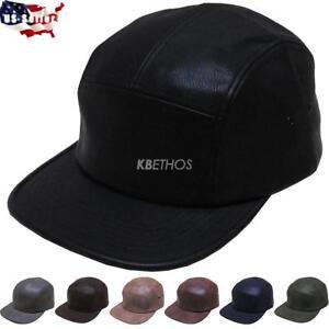 d82514f7afe15 5 Panel Hat Cap Fresh Faux Leather Biker Cycle Hat Adjustable ...