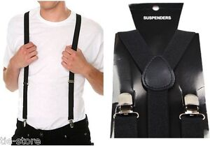 MENS-BLACK-SUSPENDERS-BRACES-ELASTIC-ADJUSTABLE-FORMAL-WEDDING-WOMENS-100CMS
