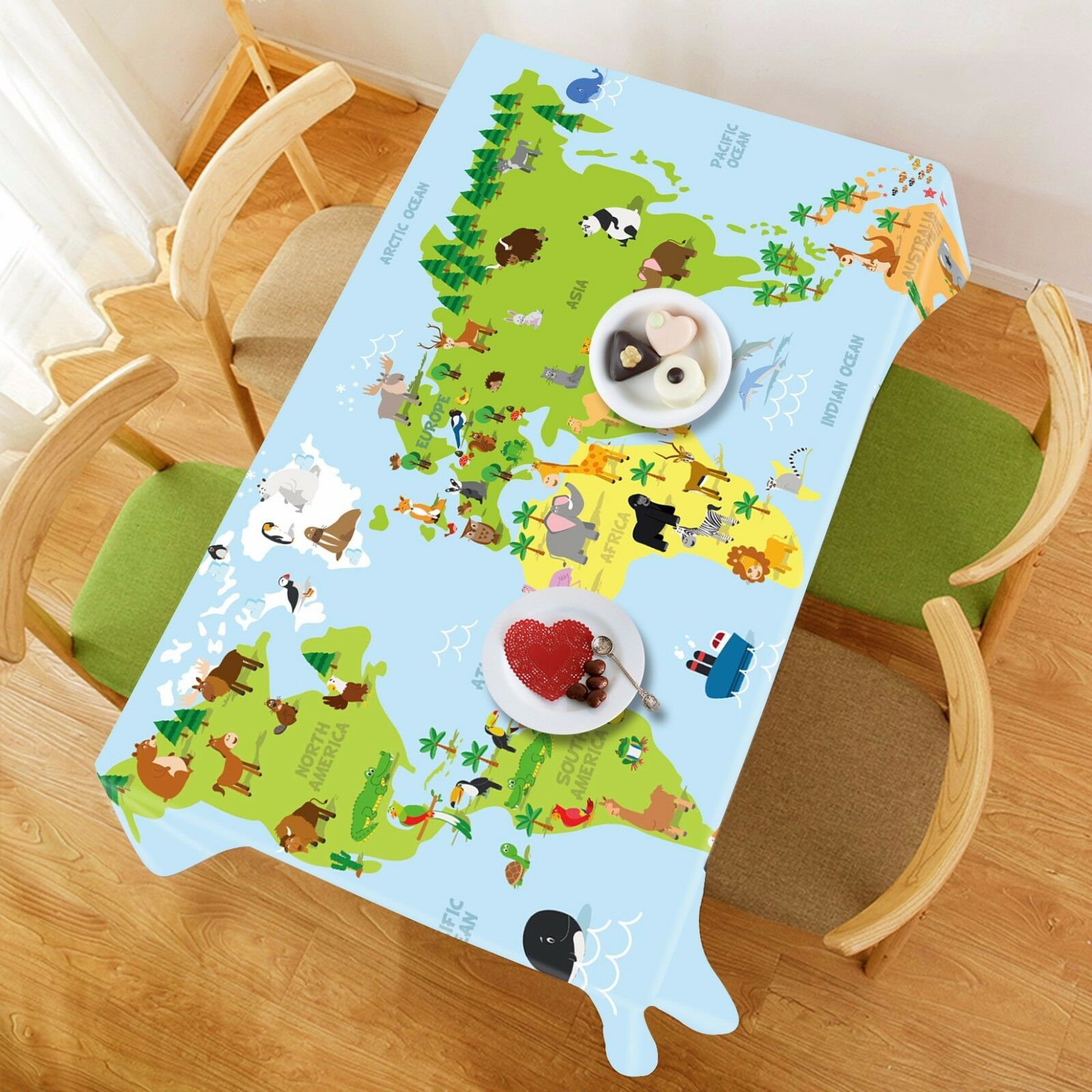 3D World Map 273 Tablecloth Table Cover Cloth Birthday Party Event AJ WALLPAPER
