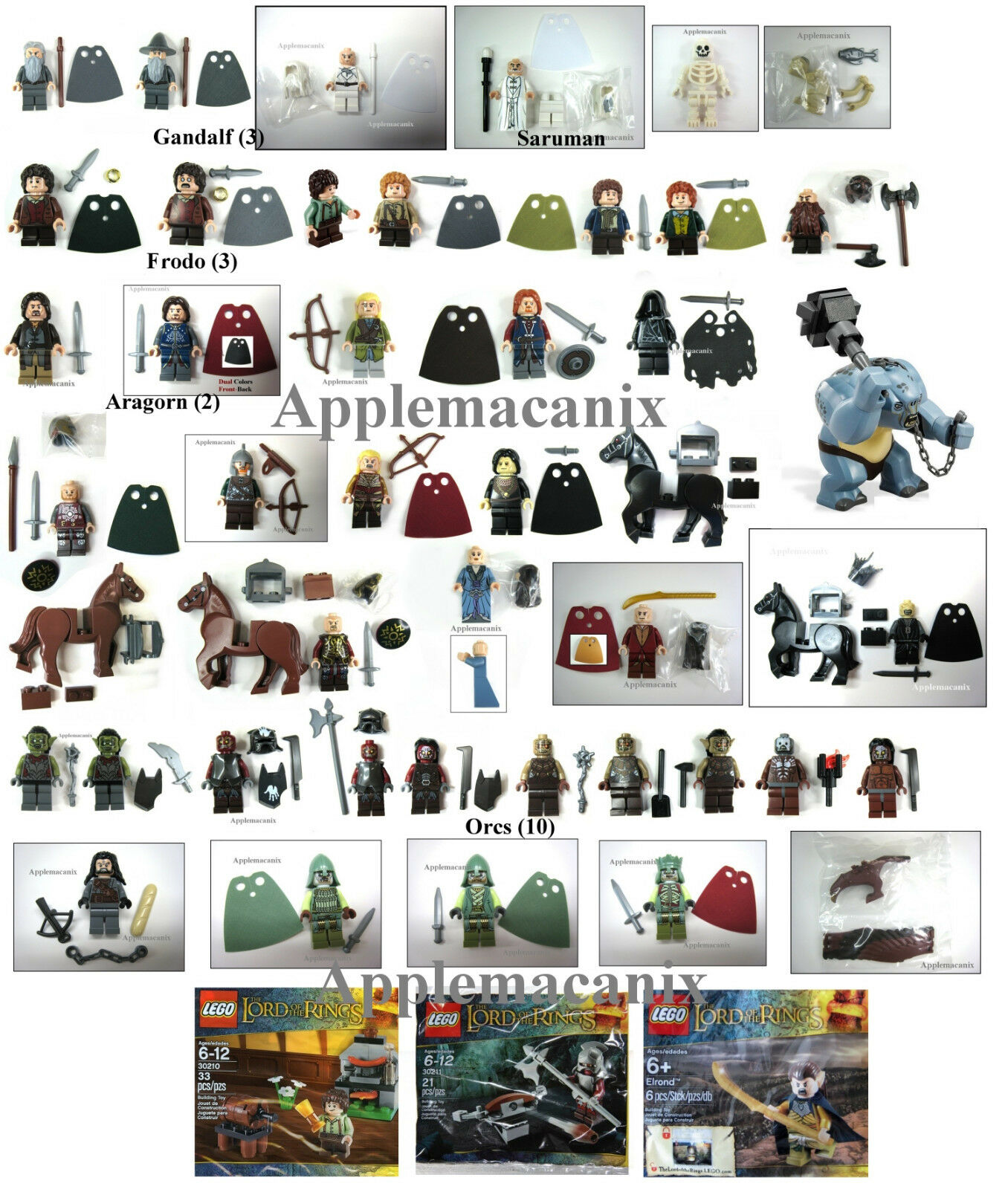 NEW LEGO Lord of the Rings *COMPLETE COLLECTION* 43+6 Minifigures Minifig LOTR