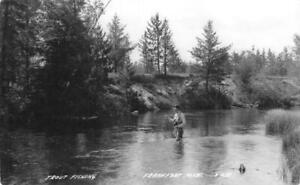 RPPC-Trout-Fishing-Frankfort-Michigan-Fisherman-c1940s-Vintage-Postcard