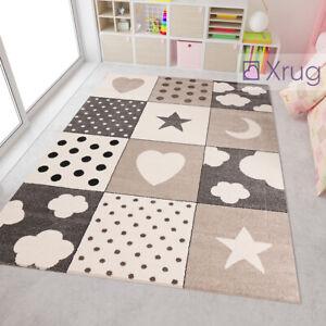 Details about Kids Star Rug Beige Grey Childrens Bedroom Mat Baby Nursery  Playroom Carpet New