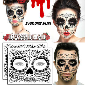 Day Of The Dead Face Temporary Tattoos Transfers Mask Halloween