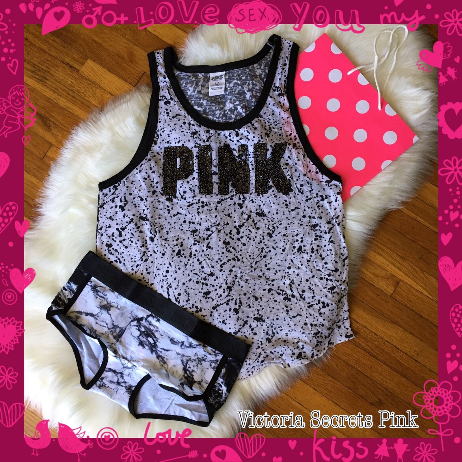 NEW Victoria Secret Vintage Bling Rosa Nation Campus Tank Marble Logo Panty Set