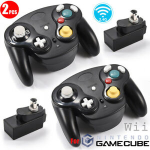 2PCS-Wireless-Controllers-Gamepad-Receiver-For-GameCube-GC-NGC-Wii-Console-Black