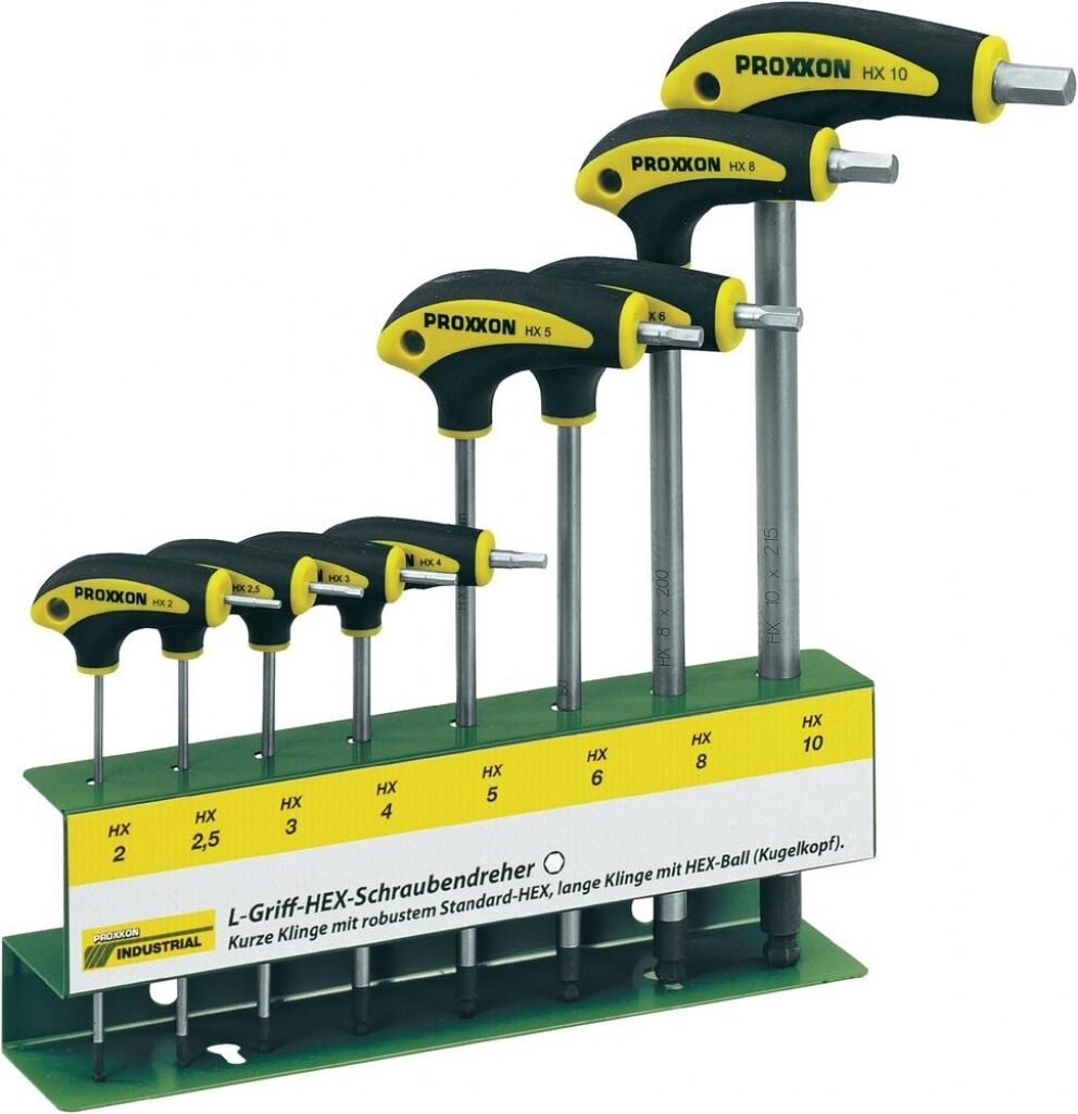 PROXXON Innensechskant Schraubendreher 22650 L T Griff HEX Halter 8 tlg NEU 2-10