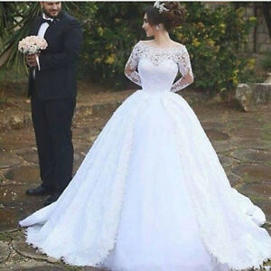 Image Is Loading Luxury Wedding Dress Ball Gown Lace Long Sleeve