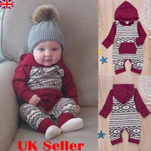 c4e471adb11 UK Newborn Baby Girl Boy Hooded Romper Bodysuit Jumpsuit Cotton ...