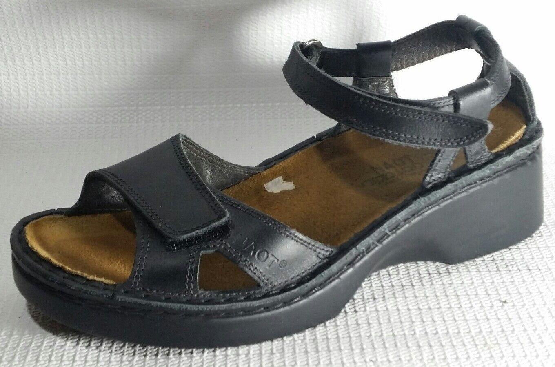 NAOT Wmns 5 M EU 36 Black Leather Comfort shoes Work Ankle Strap SandalS Open Toe