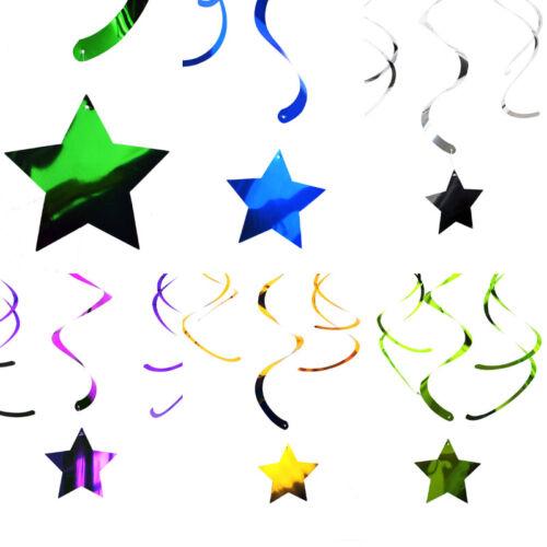 Hanging Swirl Star Decorations Birthday Party  Wedding Baby Shower Girls Boys