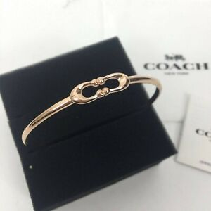 NEW-Coach-Women-Signature-034-C-034-Logo-Bangle-Bracelet-Silver-Gold-Rose-Gold