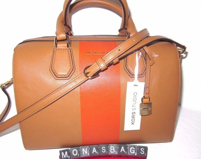 5be6c0691859 Michael Kors Center Stripe Medium Mercer Duffel Acorn Orange Satchel Bag  NWT$328